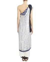 Monse - Multicolor Sequin-striped Chiffon One-shoulder Top - Lyst