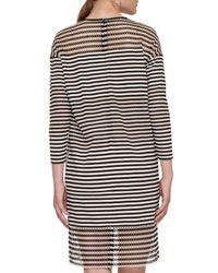Akris Punto | Black Striped 3/4-sleeve Shift Dress | Lyst