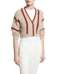 Brunello Cucinelli | Multicolor Cropped Chunky-knit Cardigan | Lyst