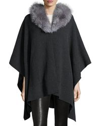 Sofia Cashmere | Black Cashmere Cape W/ Fox Fur Collar | Lyst