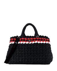 Prada | Black Crocheted Raffia Top-handle Bag W/strap | Lyst