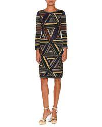 Missoni | Multicolor Patchwork-knit Long-sleeve Dress | Lyst
