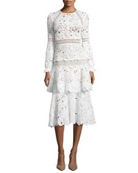 Oscar de la Renta | White Long-sleeve Macrame Midi Dress | Lyst