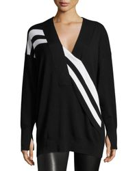 Rag & Bone | Black Grace Striped Merino V-neck Sweater | Lyst