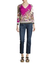 Etro | Multicolor Paisley Stampa V-neck Sweater | Lyst