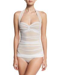 Norma Kamali | White Bill Mio Halter One-piece Swimsuit | Lyst