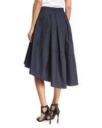 Brunello Cucinelli - Blue Crinkled Sateen Party Skirt - Lyst
