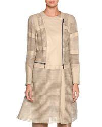 Giorgio Armani - White Striped Leather Asymmetric-zip Jacket - Lyst