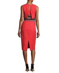 Oscar de la Renta - Red Sleeveless Tweed Popover Sheath Dress - Lyst