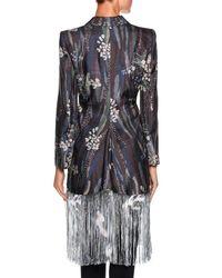 Giorgio Armani | Black Floral Fringe Silk Jacket | Lyst
