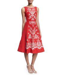 Oscar de la Renta | Sleeveless Embroidered Faille Cocktail Dress | Lyst