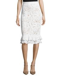 Oscar de la Renta | White Lace Ruffle-hem Pencil Skirt | Lyst