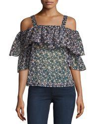 Robert Rodriguez   Multicolor Floral-print Cold-shoulder Top   Lyst