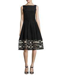Lela Rose | Black Ribbon-embroidered Sleeveless Boat-neck Dress | Lyst