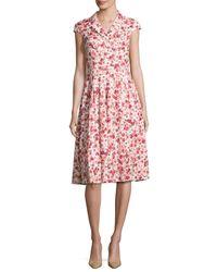 Lela Rose | Red Jane Poppy-print Cap-sleeve Shirtdress | Lyst