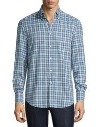 Brunello Cucinelli - Blue Twill Madras Plaid Oxford Shirt for Men - Lyst
