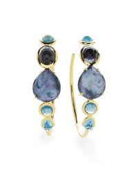 Ippolita - Multicolor 18k Rock Candy Gelato #3 Hoop Earrings In Midnight Rain - Lyst