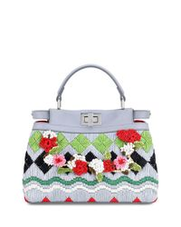 Fendi | Multicolor Peekaboo Small Raffia Satchel Bag | Lyst
