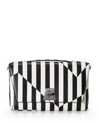 Akris | Black Anouk Striped Leather Day Bag | Lyst