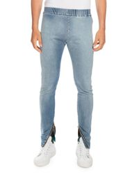 Balmain | Blue Denim Moto Jogger Pants for Men | Lyst