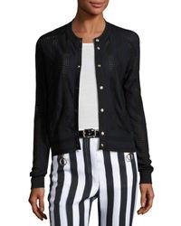 Nina Ricci   Black Perforated Knit Cardigan   Lyst