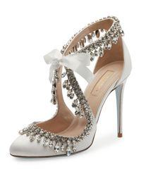 Aquazzura   White Stella Jeweled Bridal 105mm Pump   Lyst