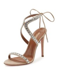 Aquazzura | Gray Sweet Lover Suede 105mm Sandal | Lyst