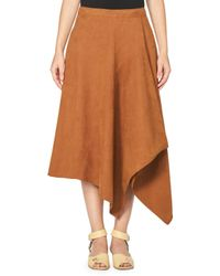 Stella McCartney | Brown Asymmetric Faux-suede Midi Skirt | Lyst