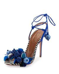 Aquazzura | Blue Tropicana Tassel 105mm Sandal | Lyst