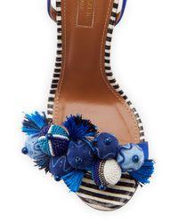 Aquazzura - Blue Tropicana Tassel 105mm Sandal - Lyst