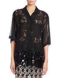 Dries Van Noten - Black Cruz Lace Short-sleeve Shirt With Paillette Hem - Lyst