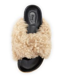 Chloé - Natural Shearling Fur Flat Slide Sandal - Lyst