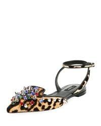 Dolce & Gabbana   Black Jeweled Calf Hair Ankle-wrap Flat   Lyst
