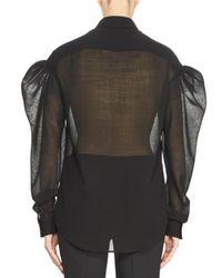 Saint Laurent | Black Voile Puff-sleeve Blouse | Lyst