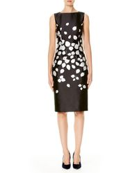 Carolina Herrera | Black Petal-print Sateen Sheath Dress | Lyst