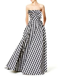Carolina Herrera - Black Strapless Gingham Ball Gown - Lyst