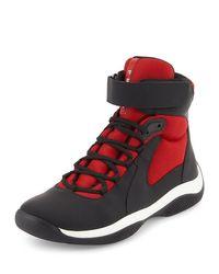 Prada   Red America's Cup Men's High-top Sneaker for Men   Lyst
