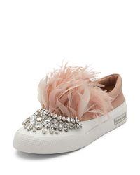 Miu Miu | Multicolor Jeweled Feather Skate Sneaker | Lyst
