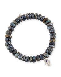 Sydney Evan | Gray 8mm Labradorite Beaded Bracelet With Diamond & Sapphire Hamsa Charm | Lyst