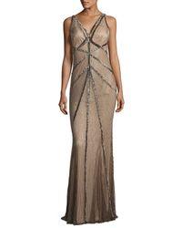 Rachel Gilbert | Brown Sleeveless Beaded V-neck Gown | Lyst
