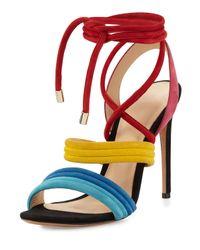 Alexandre Birman | Multicolor Aurora Strappy Suede Sandal | Lyst