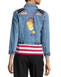 Marc Jacobs | Blue Shrunken Denim Jacket With Patches | Lyst