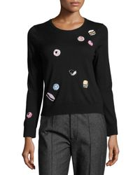 Marc Jacobs | Black Candy-embellished Merino Wool Crewneck Sweater | Lyst