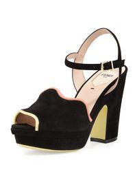 Fendi | Black Waves Piped Suede Platform Sandal | Lyst