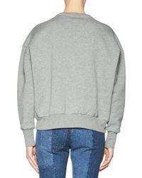 Alexander McQueen - Gray Floral-embroidered Patchwork Sweatshirt - Lyst