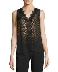 Elie Tahari | Black Silvie Sleeveless Lace-trimmed Leopard-print Silk Blouse | Lyst