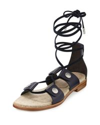 Rag & Bone | Blue Evelyn Lace-up Leather Sandal | Lyst