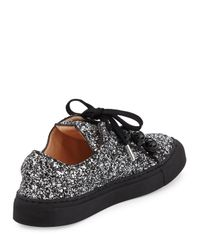 Carven - Gray Glitter Dome-studded Low-top Sneakers - Lyst
