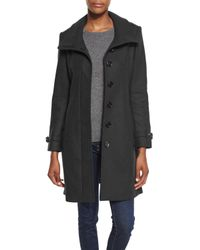 Burberry Brit | Black Gibbsmore Wool-blend Single-breasted Coat | Lyst