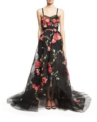Marchesa | Black Floral-embellished High-low Tulle Gown | Lyst